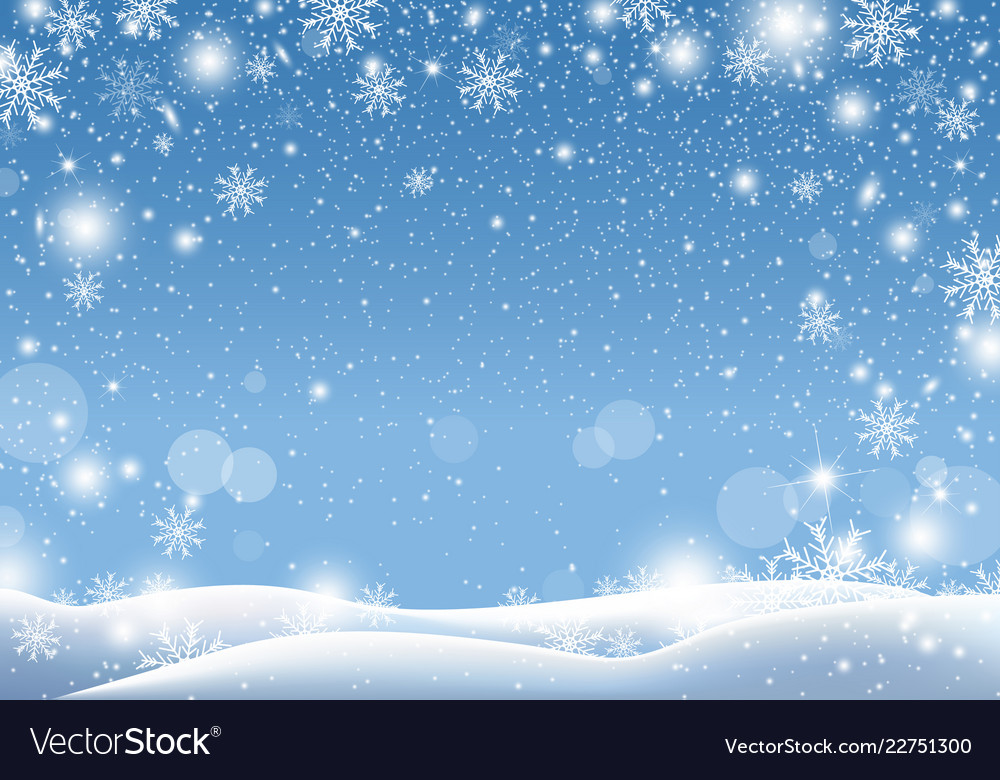 Snow For Christmas.Christmas Background Design Of Snow Falling