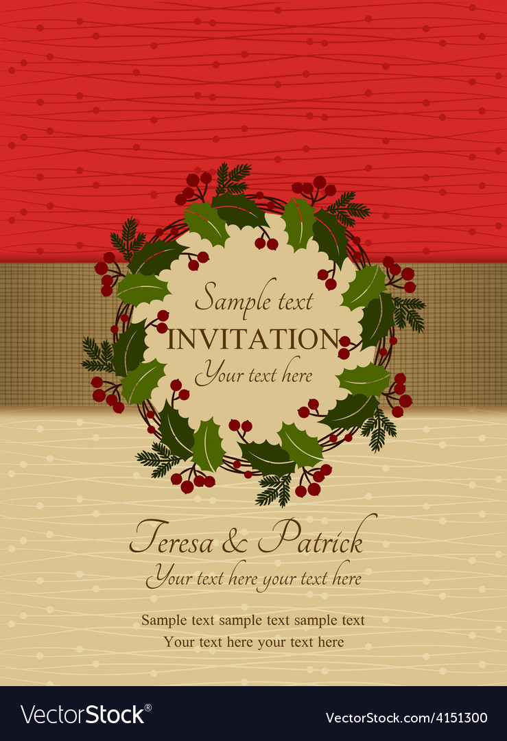 Christmas invitation red and beige