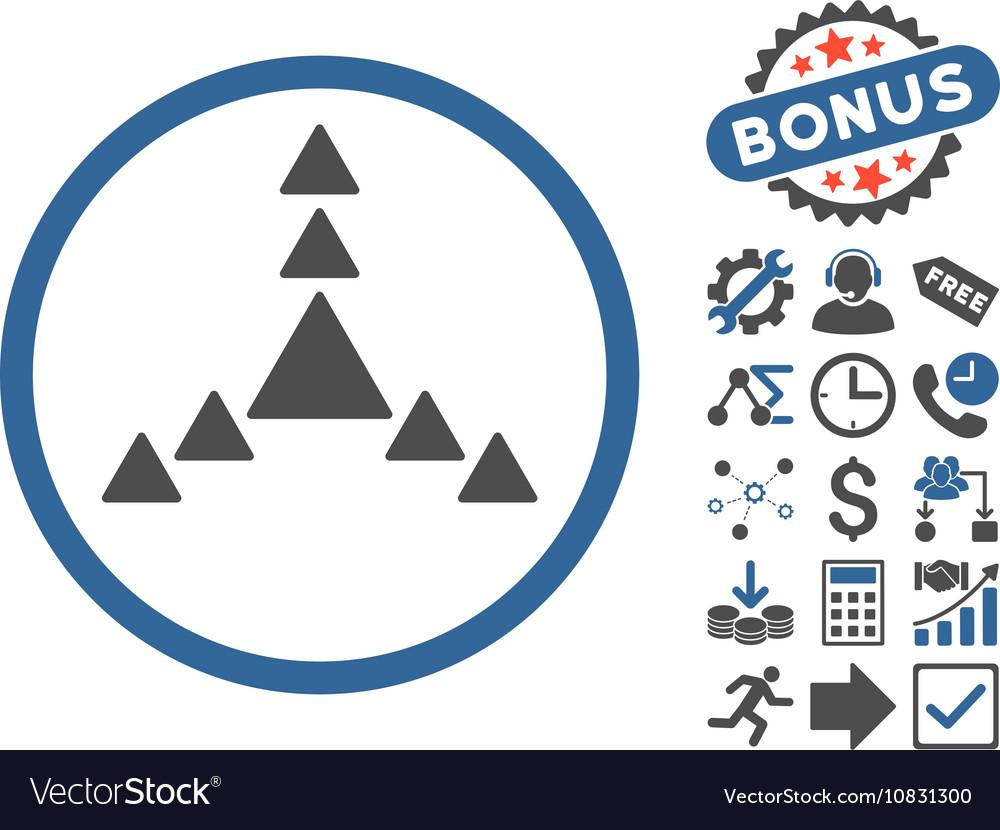 Direction Triangles Flat Icon With Bonus