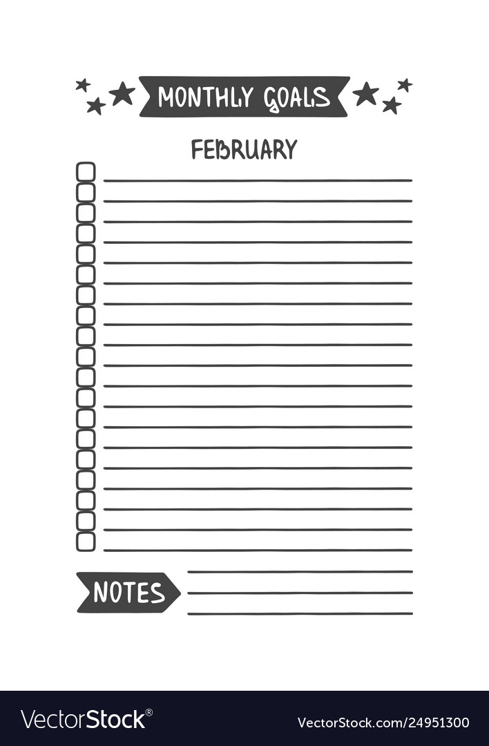 photo about Monthly Goals Template identified as February every month targets template