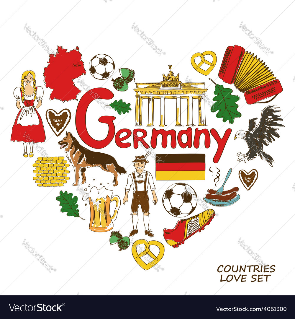 German Symbols In Heart Shape Concept Royalty Free Vector