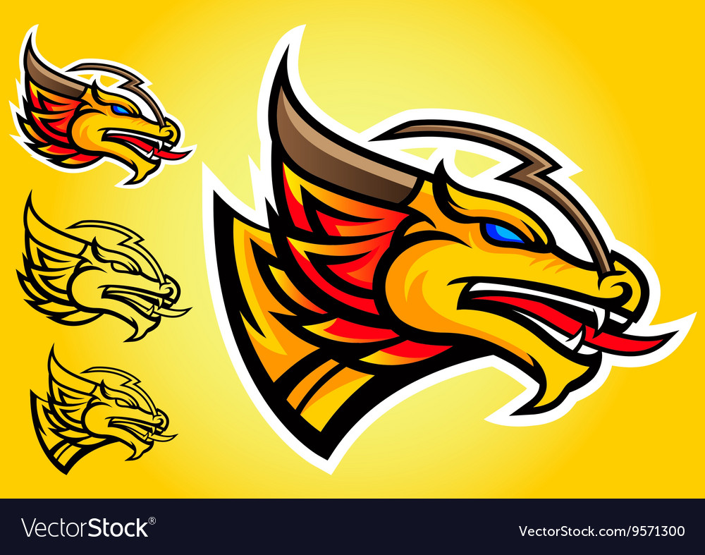 Gold dragon emblem logo vector image
