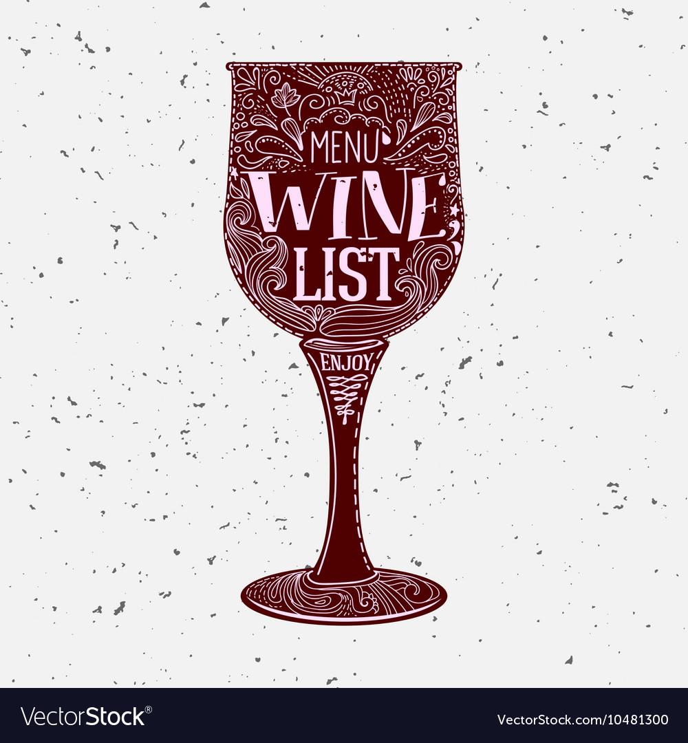 Hand lettered Wine List menu vector image