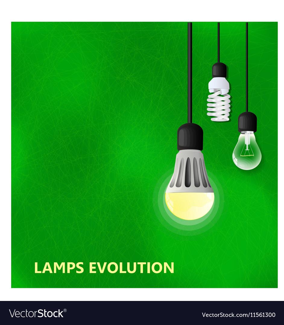 Hanging on cords three light bulbs vector image