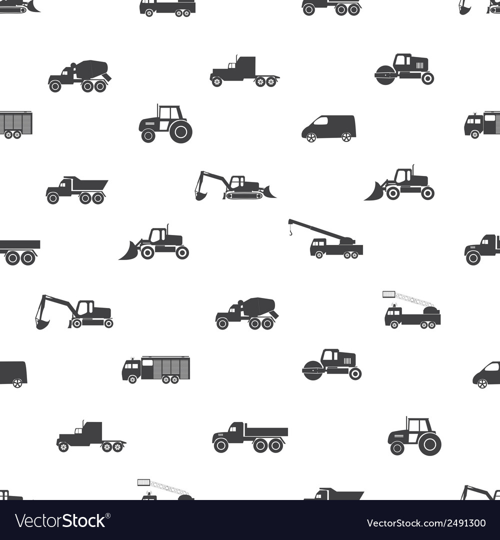 Heavy machinery icons seamless pattern eps10 vector image