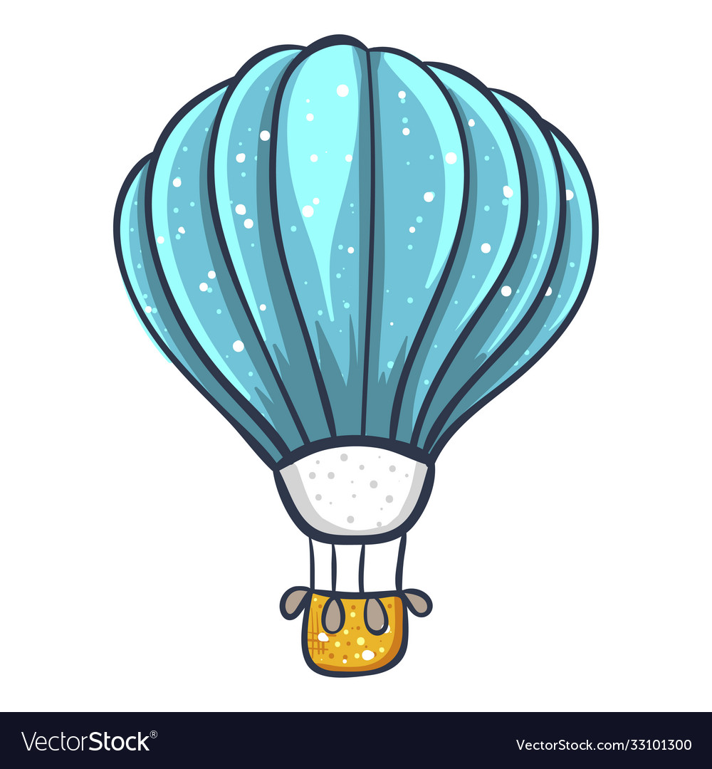 Hot air large balloon with a basket in flight