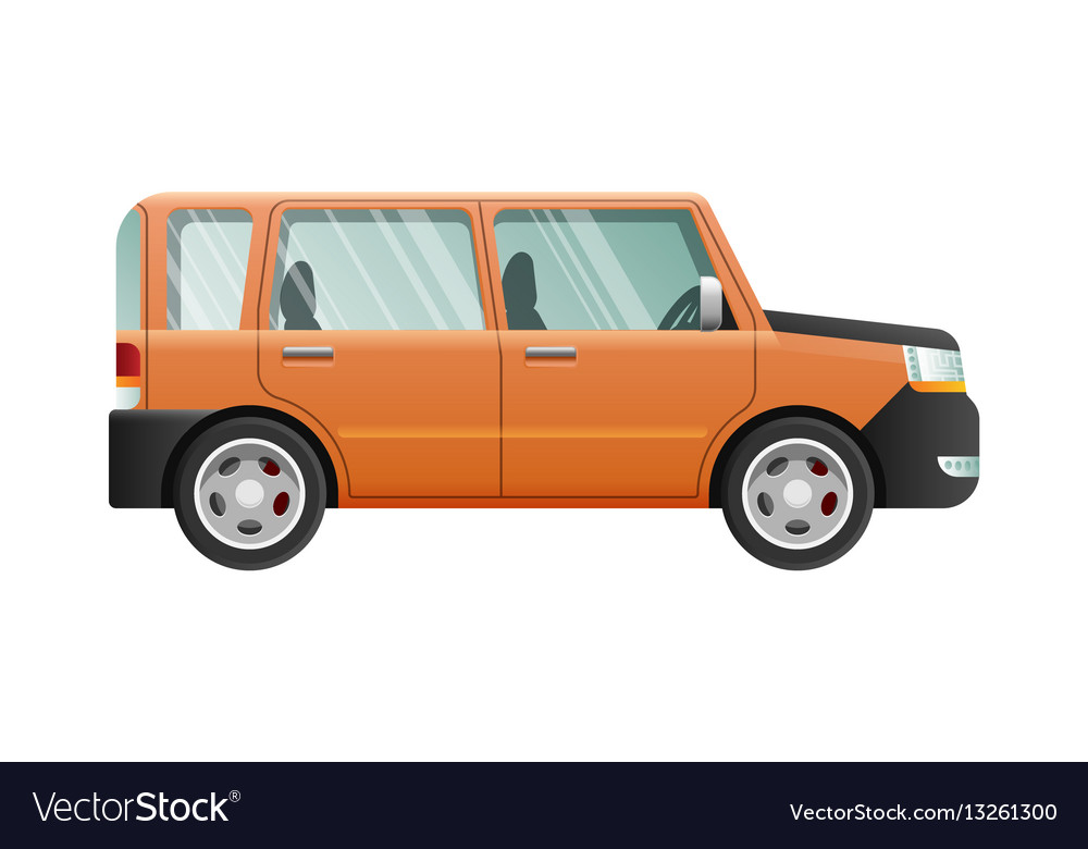Orange jeep with clear glasses speed vehicle vector image