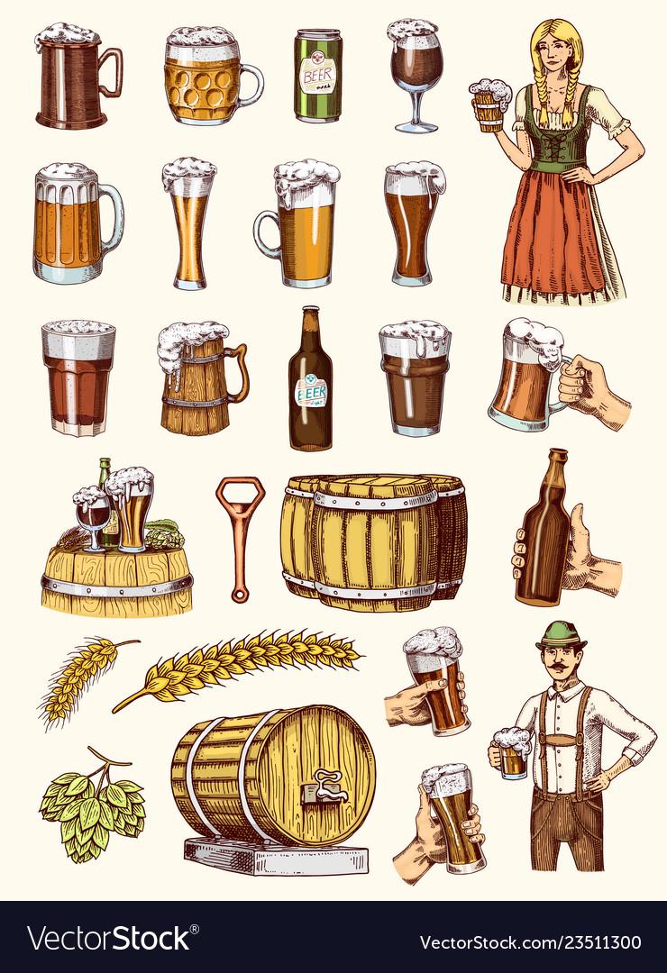 Set of beer glass mug or bottle of oktoberfest