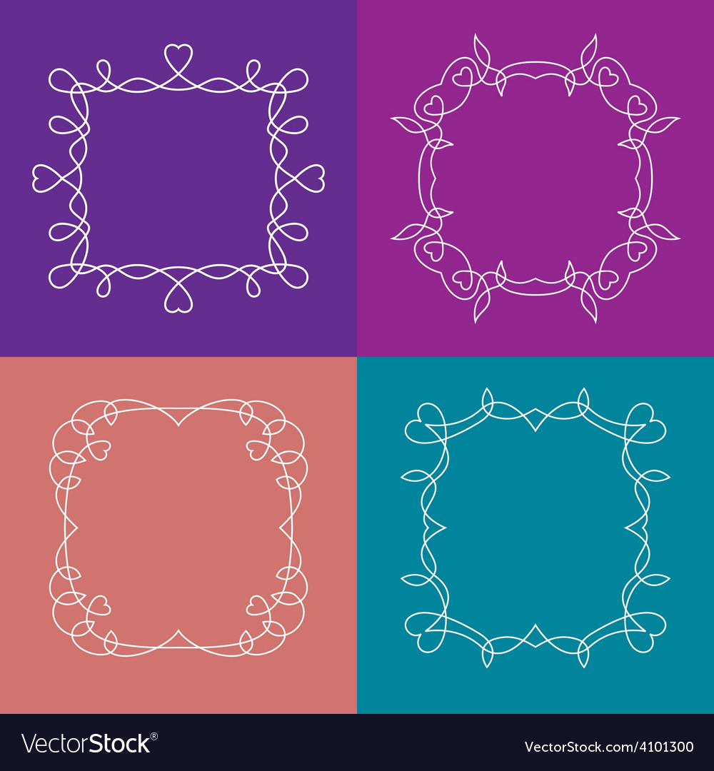 Set of outline frames with floral and love vector image