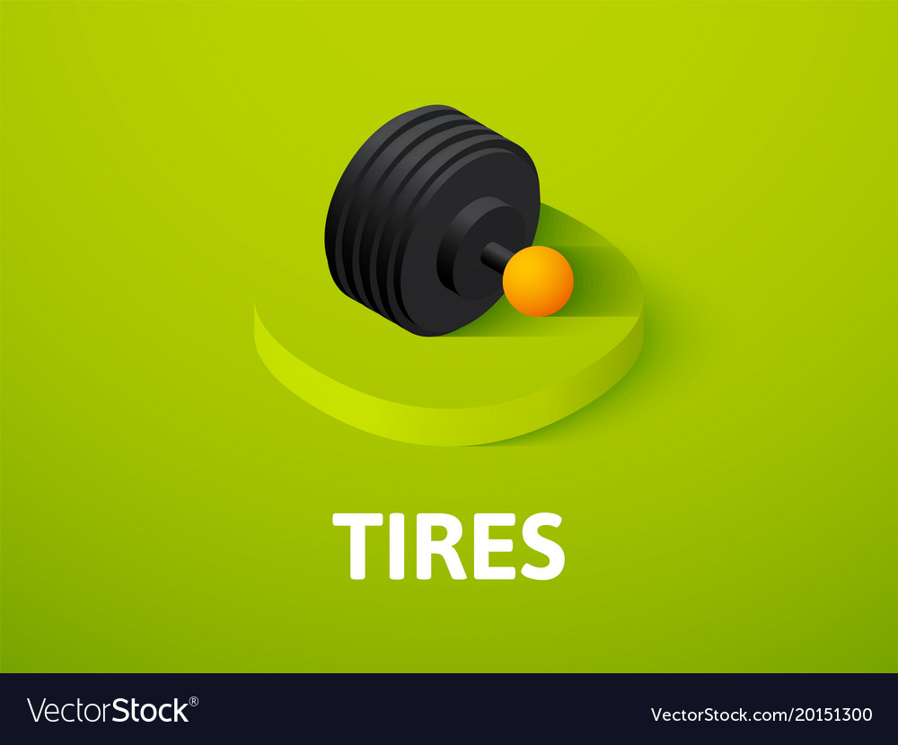 Tires isometric icon isolated on color background