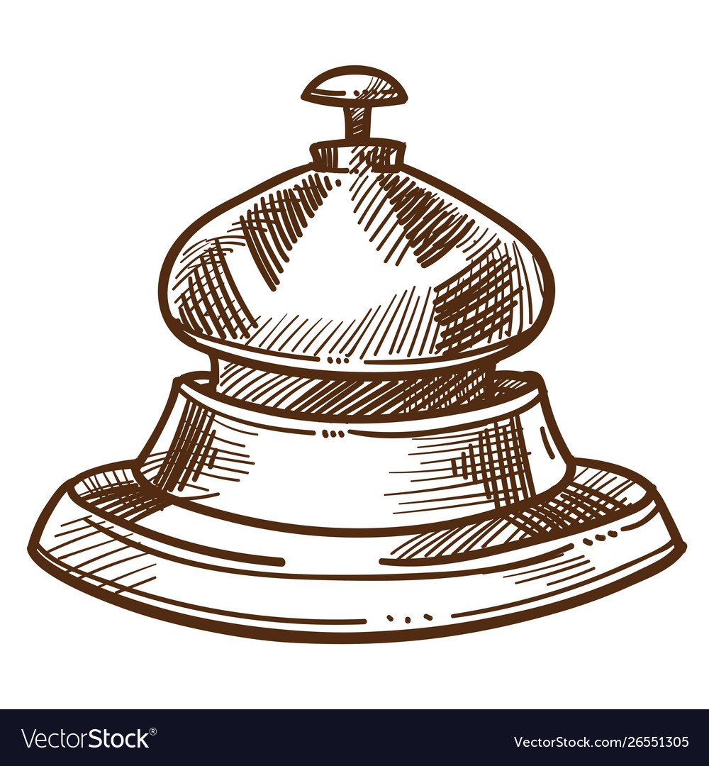 Bell from reception desk isolated sketch hotel