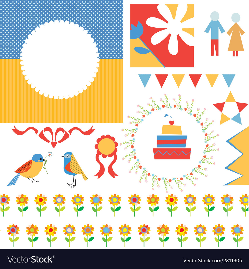 Birthday Or Party Greeting Set Frames Icons Vector Image