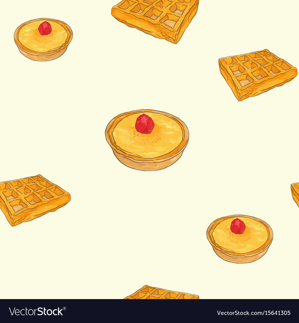 Creme brulee tart and waffle sketch pattern