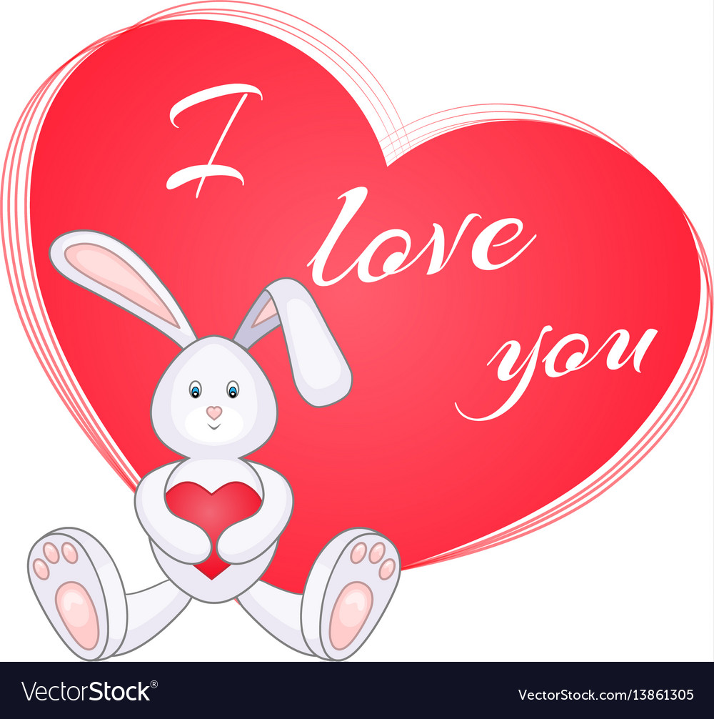 Cute little bunny with red heart