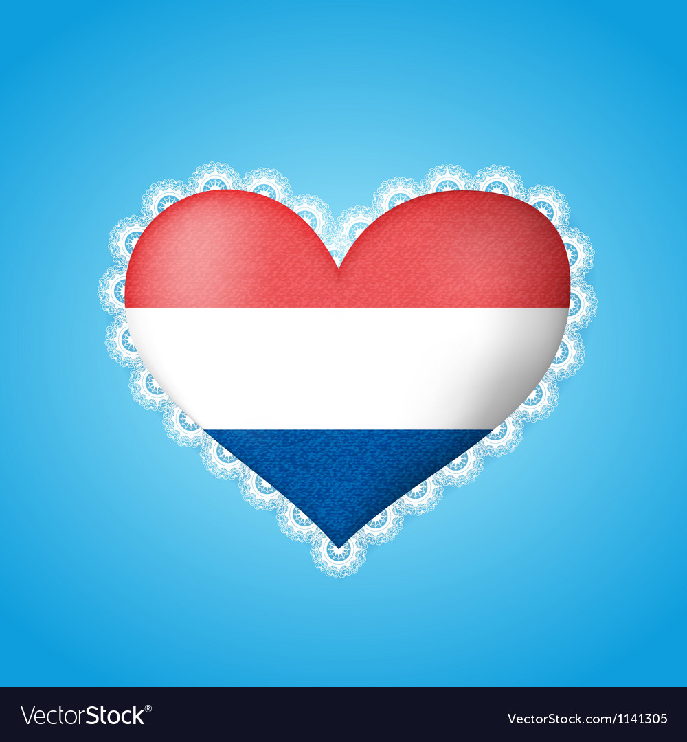 Heart shape flag of Holland vector image