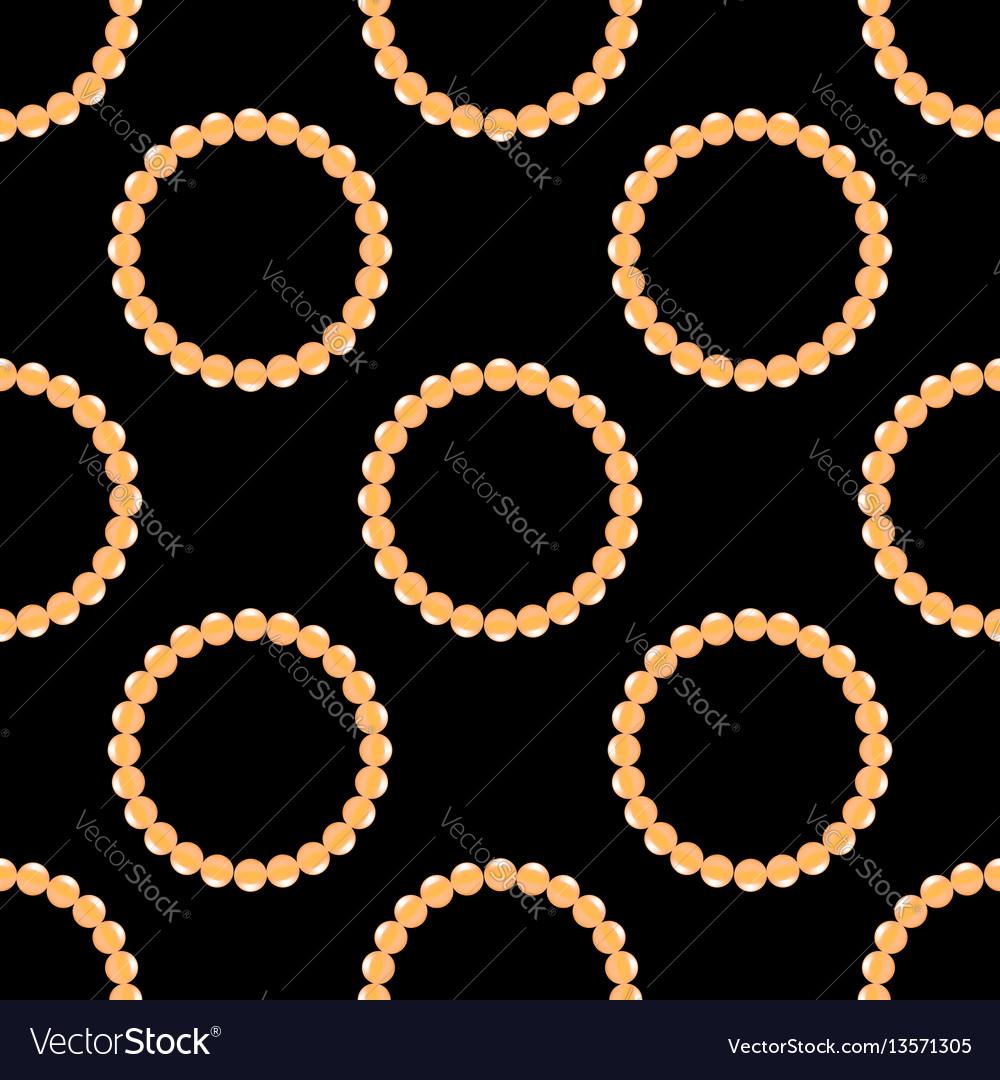 Pearl necklake seamless patttern on black