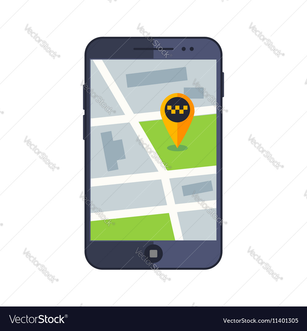 Taxi service app map on mobile phone with gps
