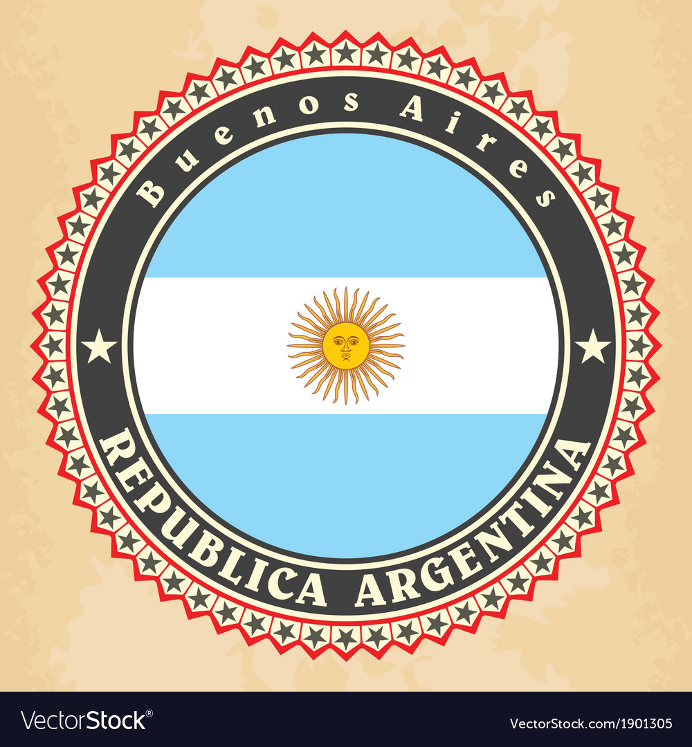 Vintage label cards of Argentina flag