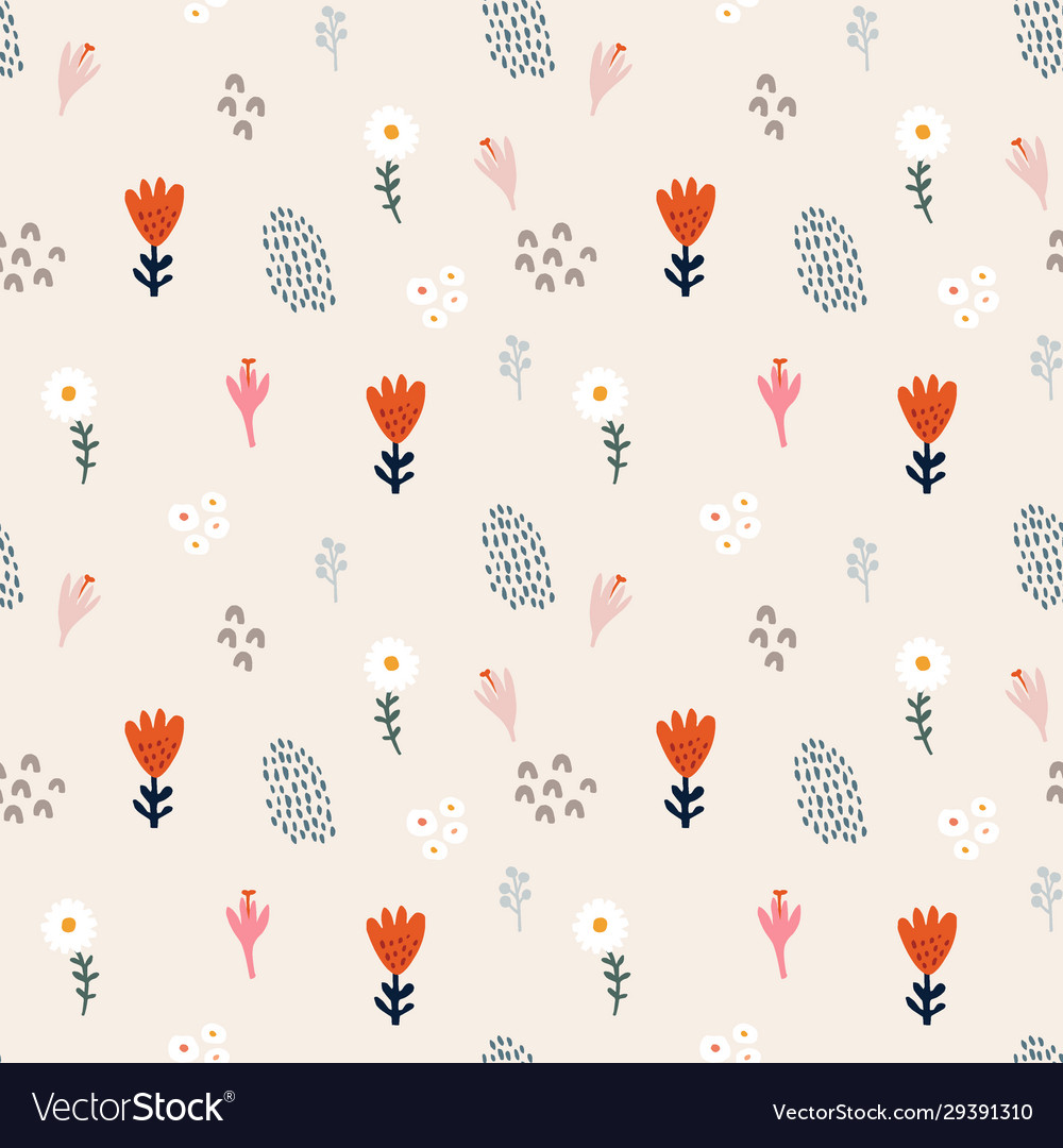 Abstract floral seamless pattern hand drawn daisy