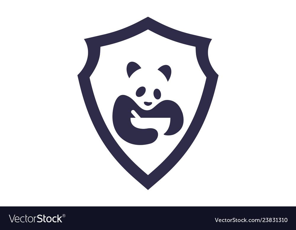 Abstract panda food icon logo