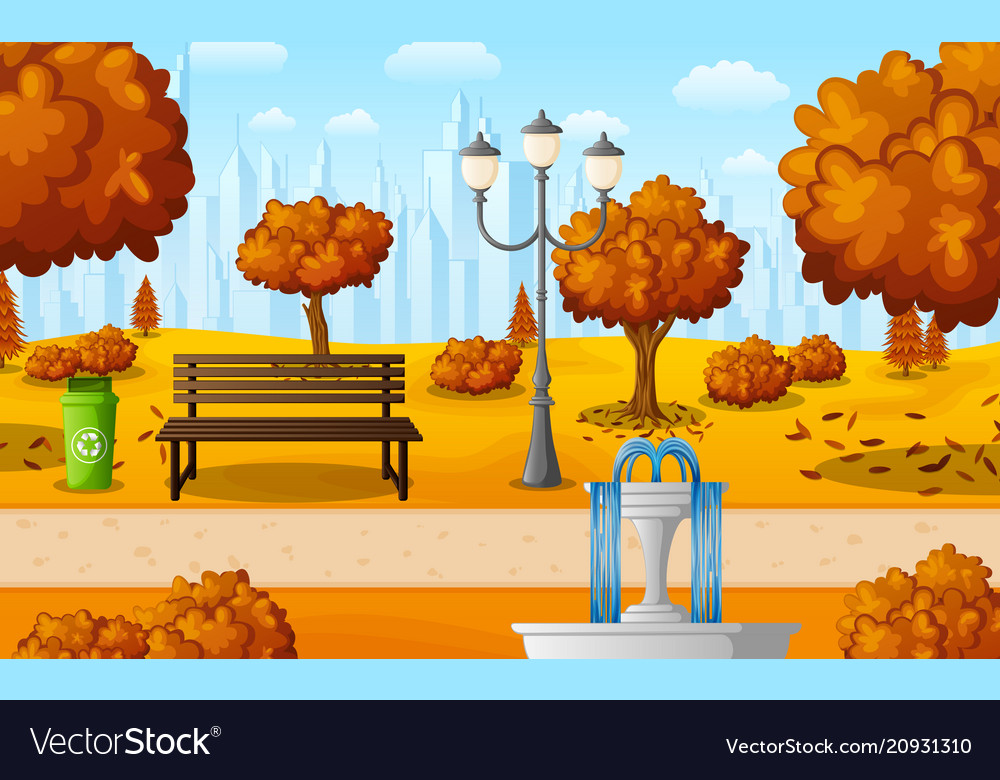 Autumn city park with bench and fountain