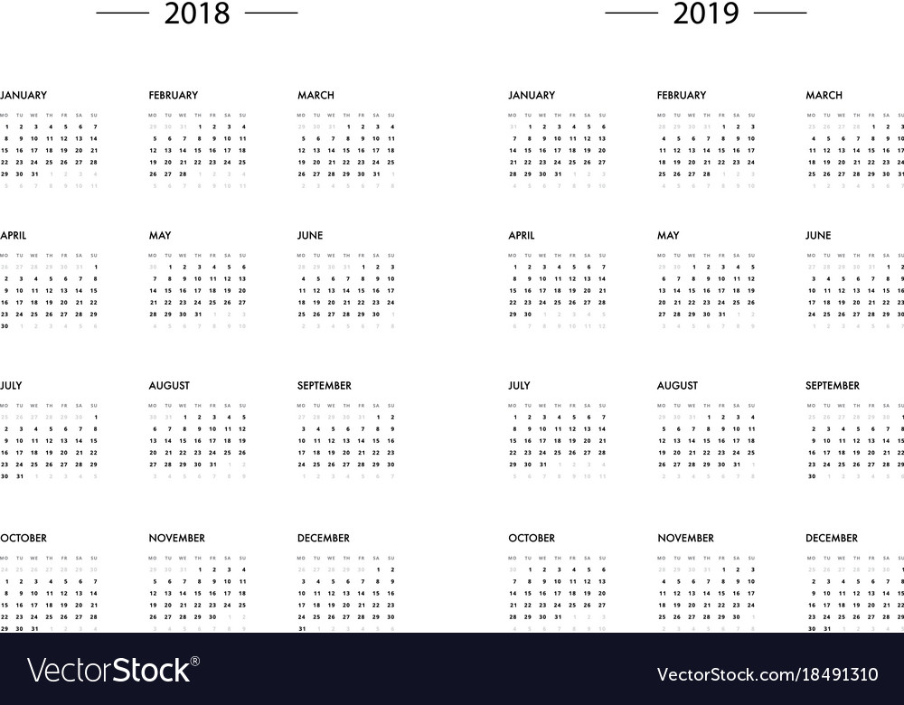 calendar 2018 2019 year template vector image