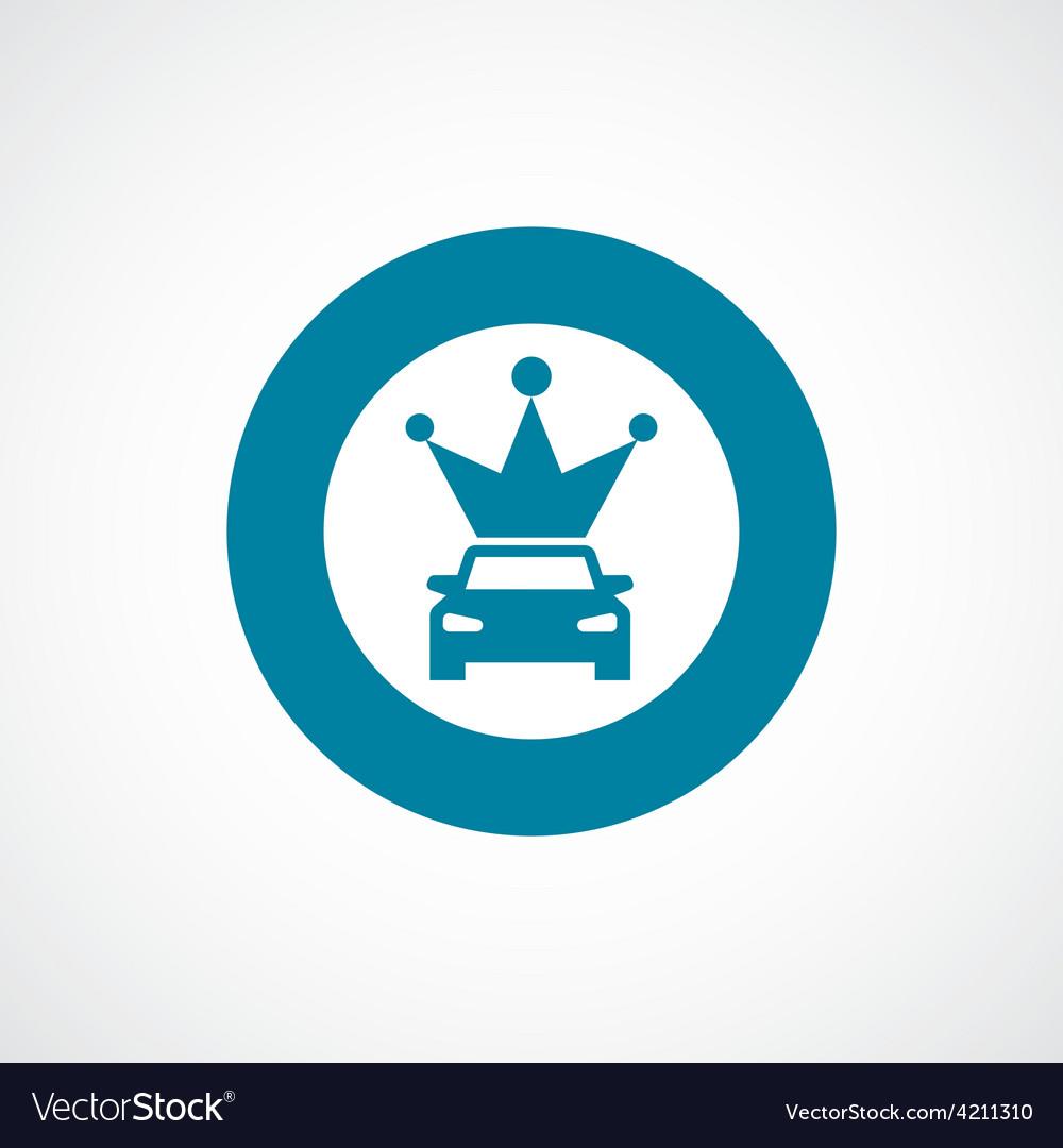 Car crown icon bold blue circle border vector image