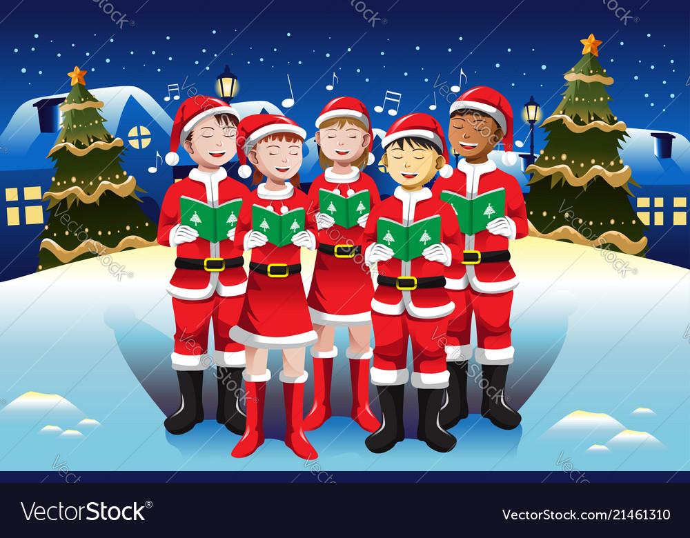 Christmas Choir.Children Singing In Christmas Choir