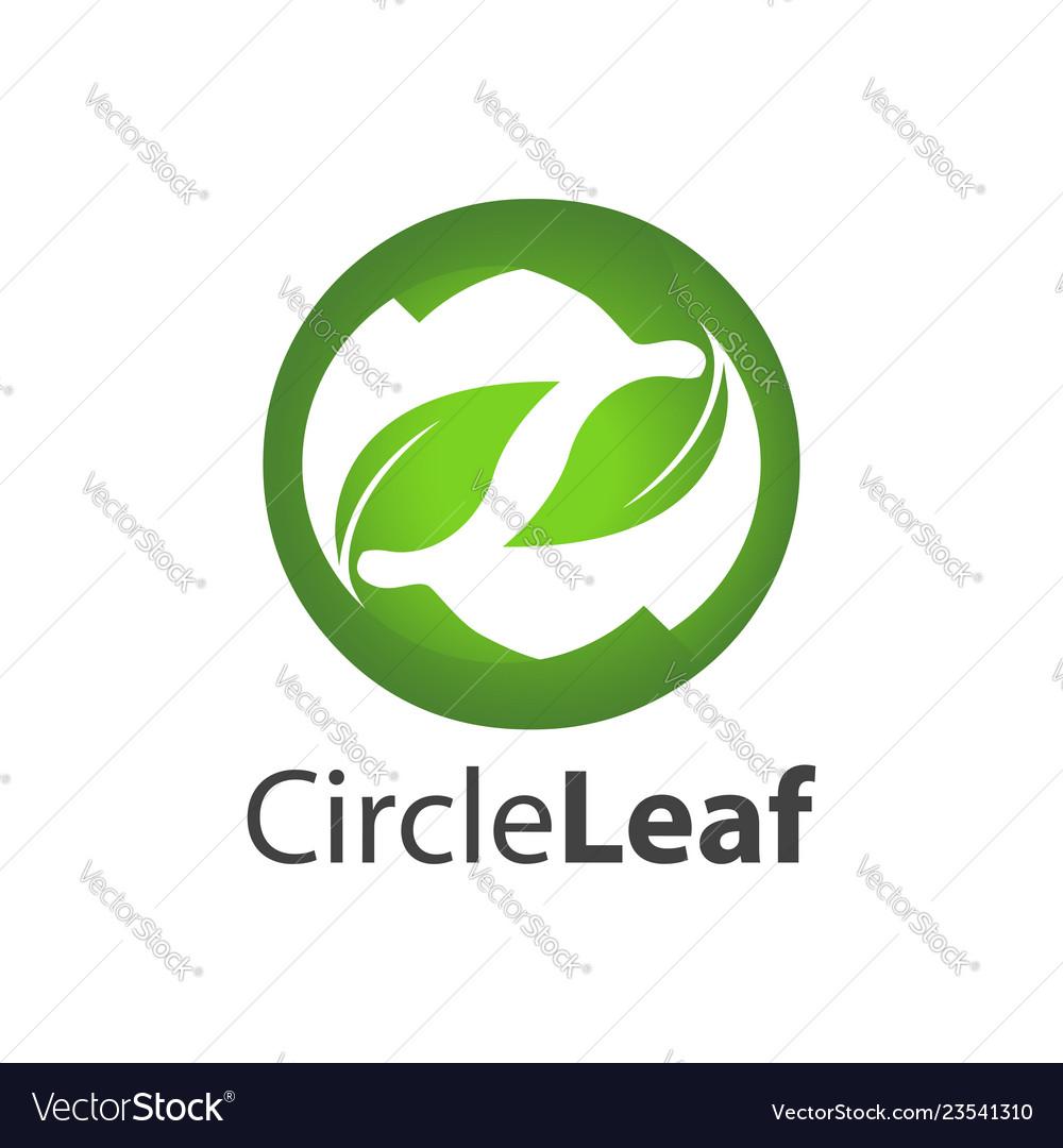 Circle leaf logo concept design symbol graphic