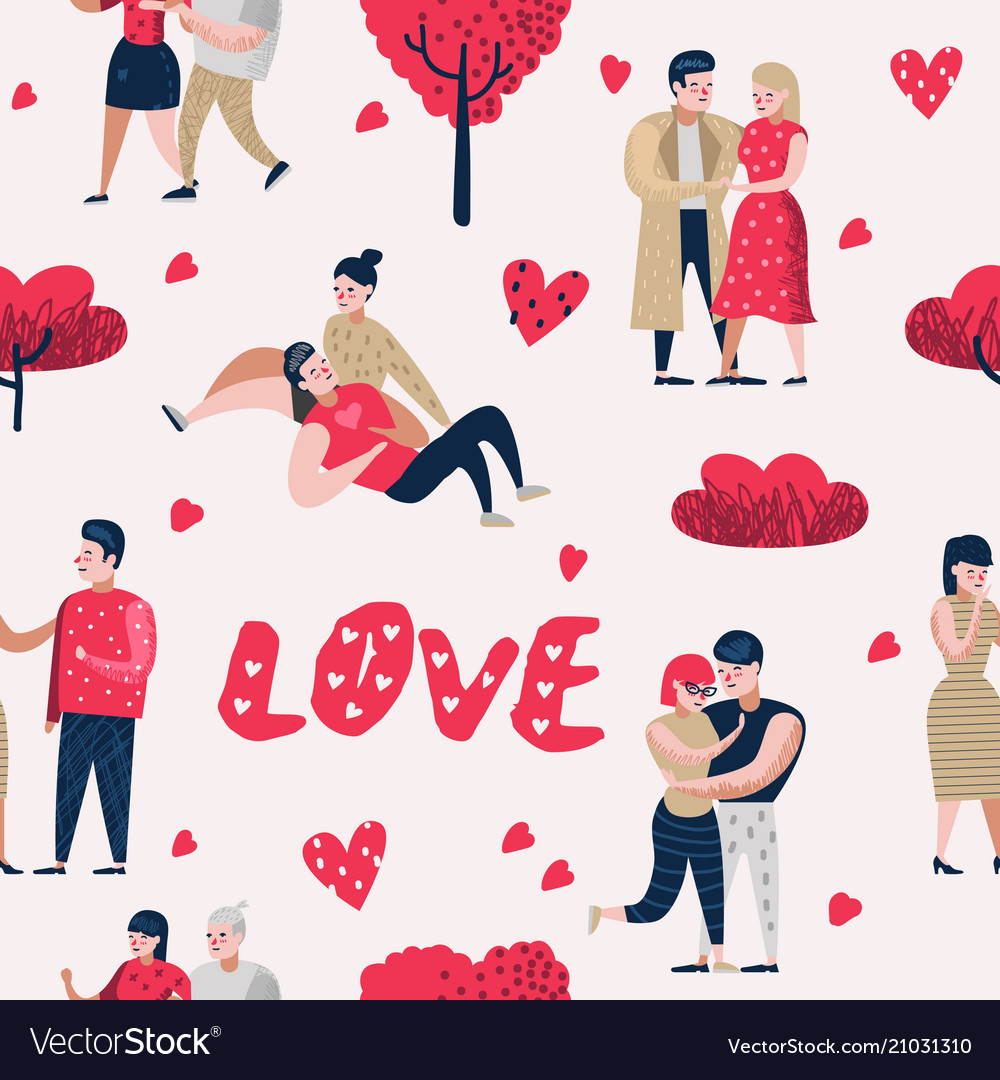 Couple in love characters people seamless pattern