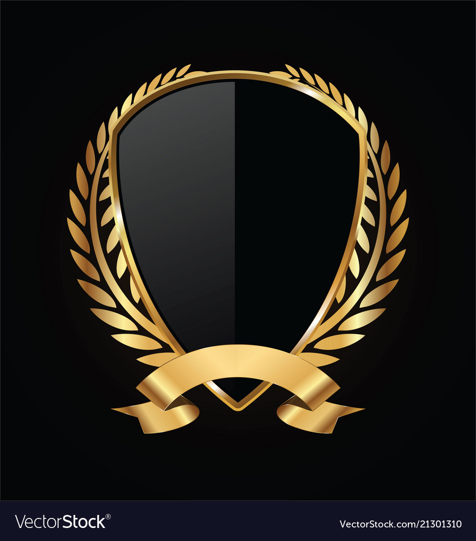 Gold and black shield with gold laurels 16 vector image
