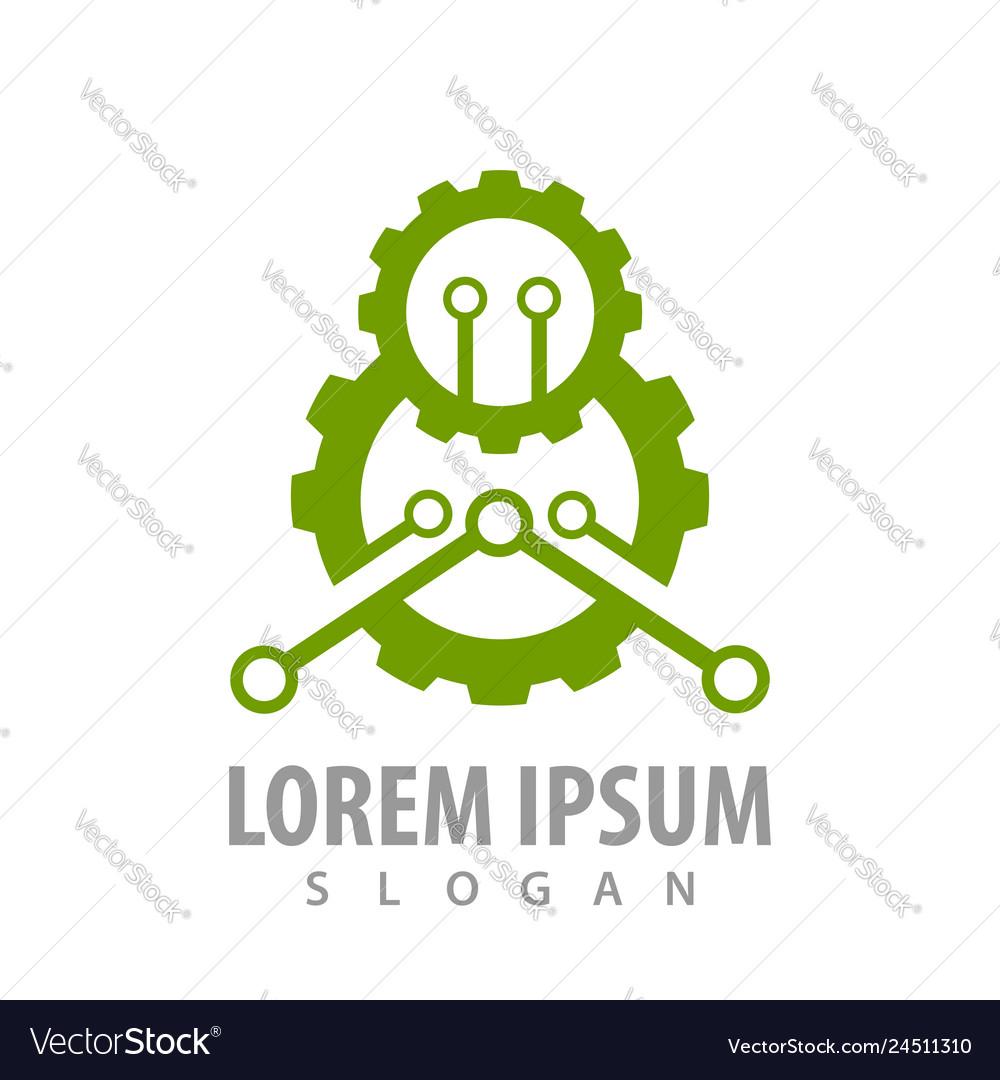 Green industrial gear concept design symbol