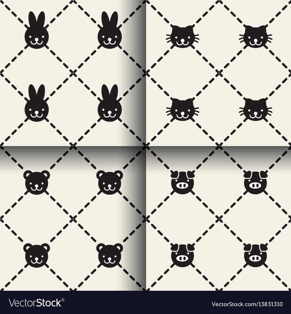Minimal animal seamless patterns