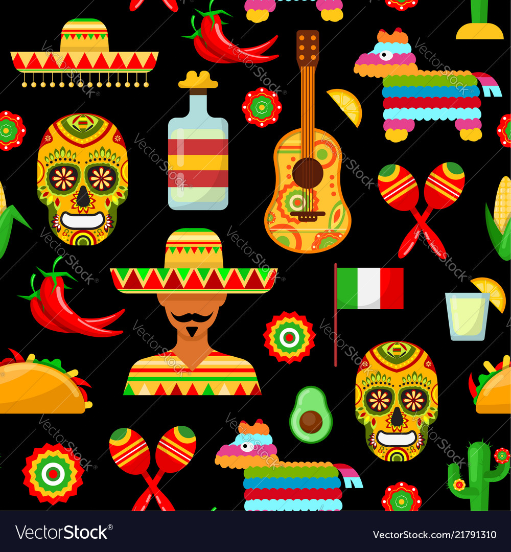 Pattern with traditional mexican attributes