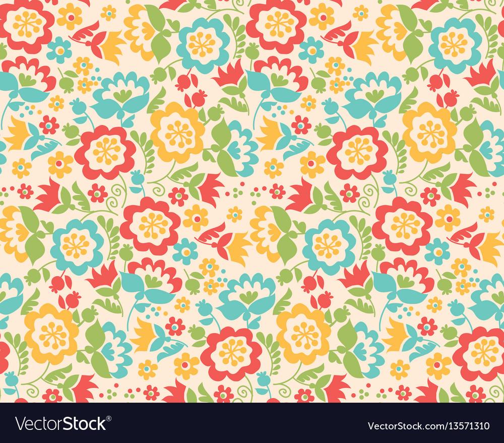 Retro style summer flower seamless pattern in
