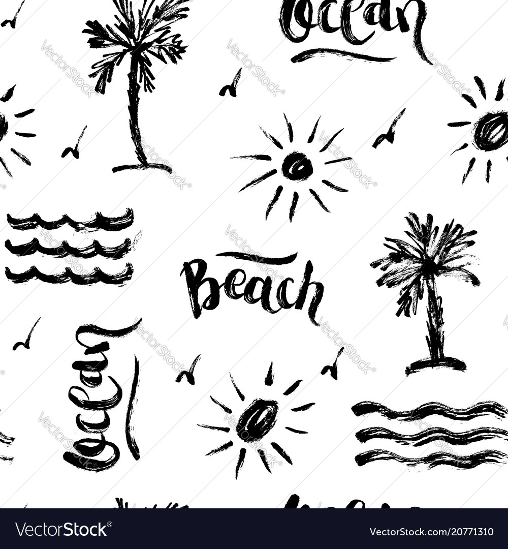 Seamless abstract summer brush pattern vector image