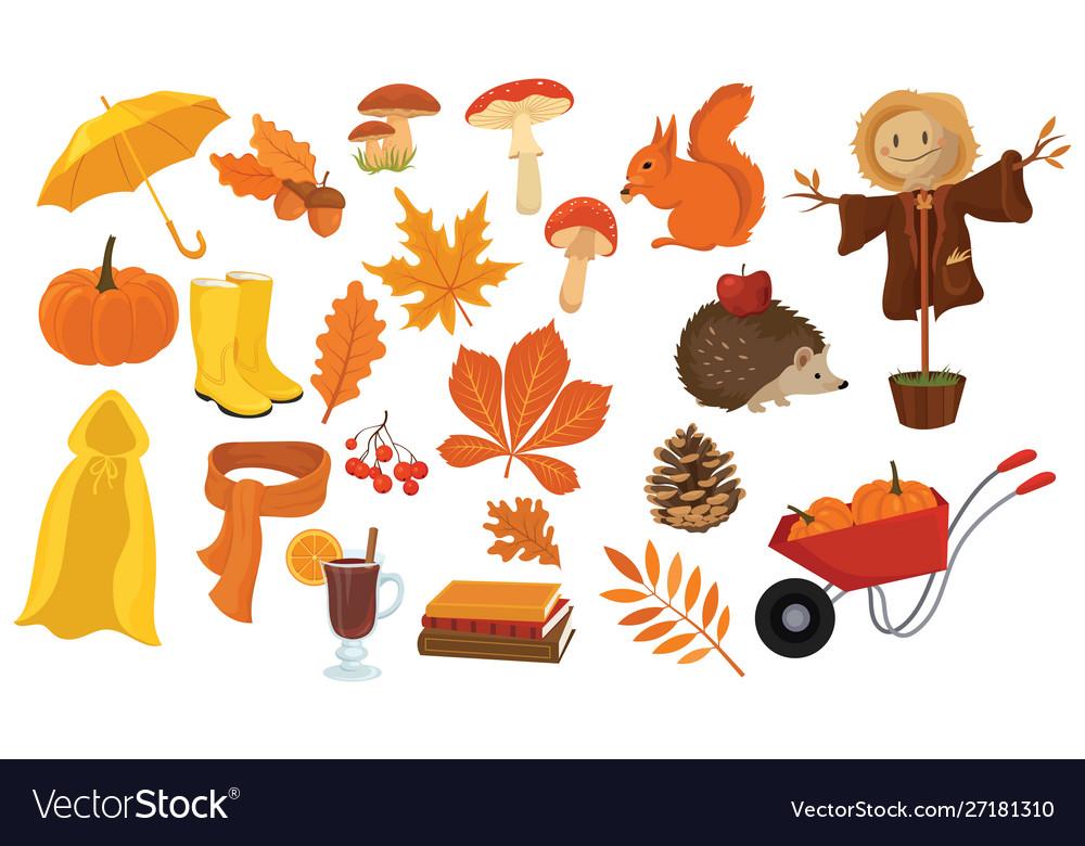 Set cartoon elements autumn collection of