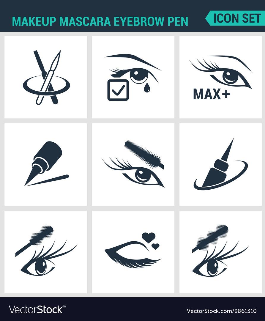 Set of modern icons Makeup mascara eyebrow