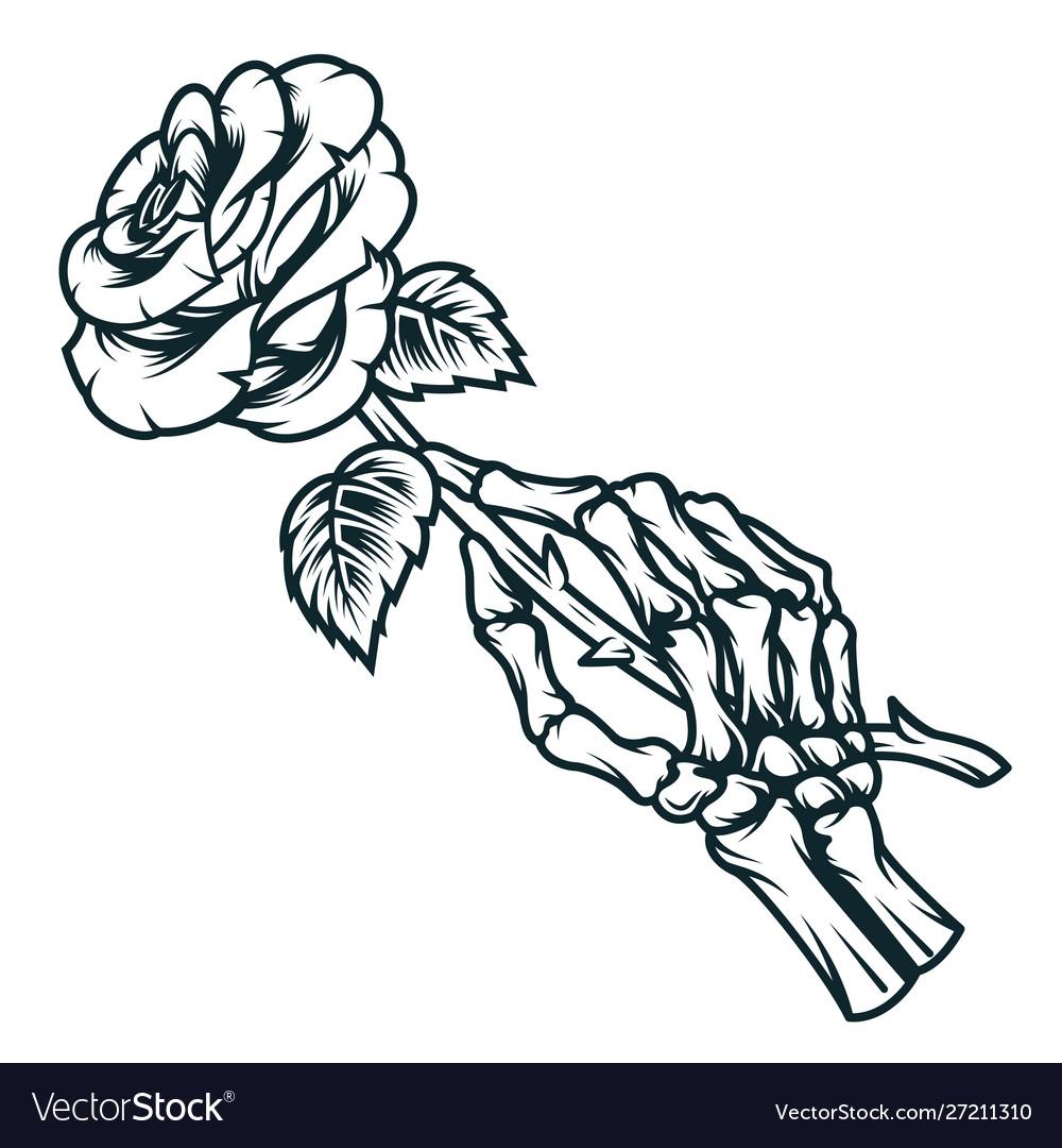 Skeleton Hand Holding Rose Flower Royalty Free Vector Image