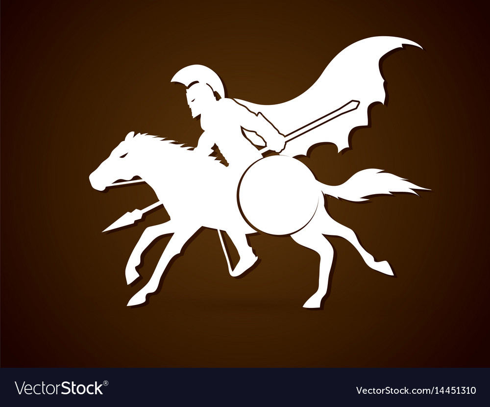 Spartan warrior riding horse with spear and shield