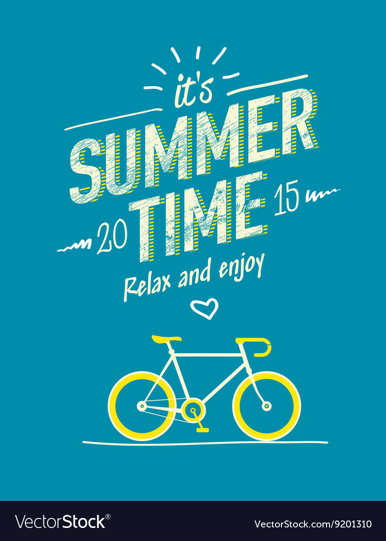 Summer time typography poster with flat retro