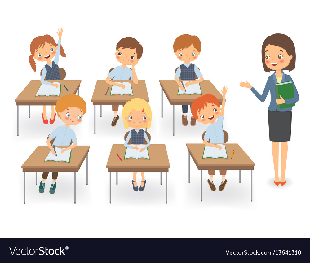 Teacher with pupils at a lesson vector image