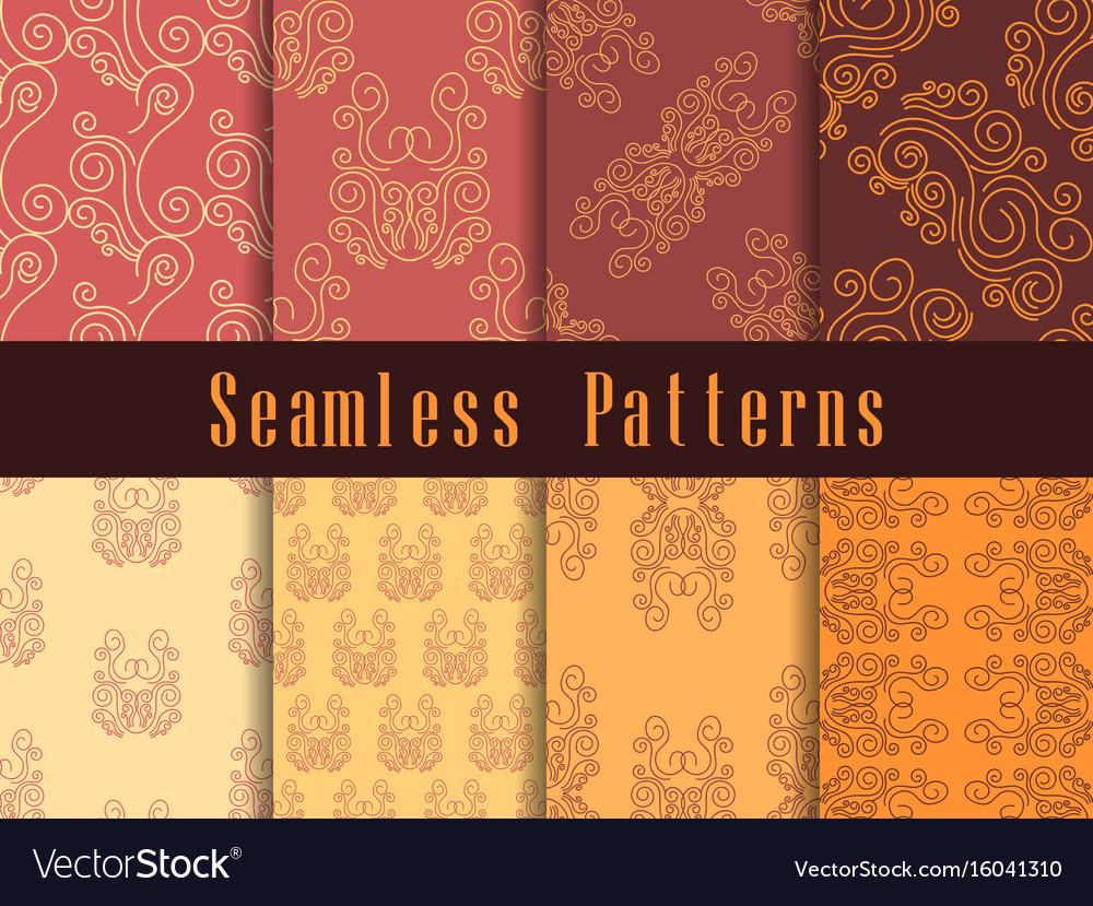 Vintage seamless pattern set baroque ornament