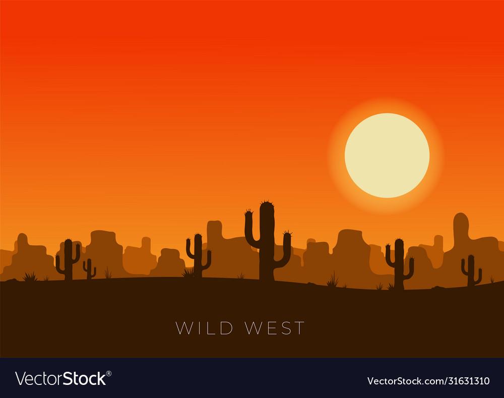 western desert landscape at sunset royalty free vector image  vectorstock