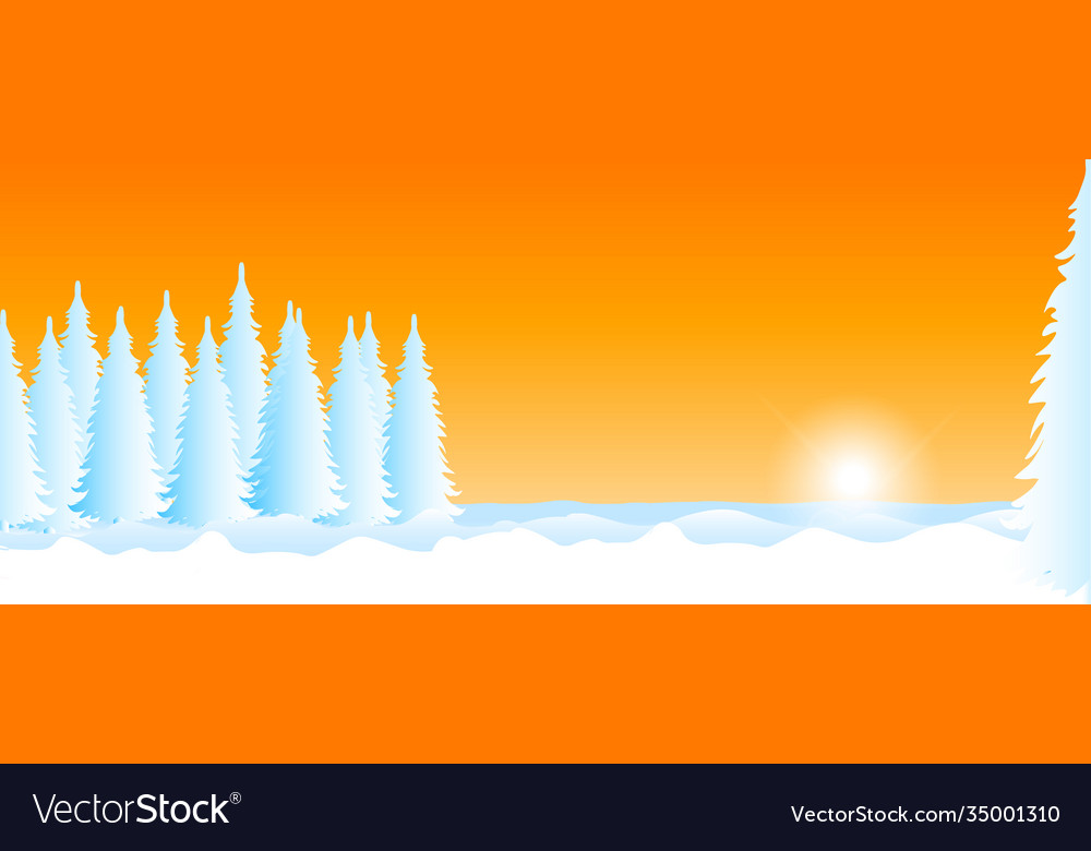 Winter landscape with snow sunset and trees