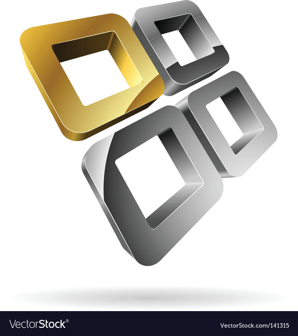 3d rounded squares vector image