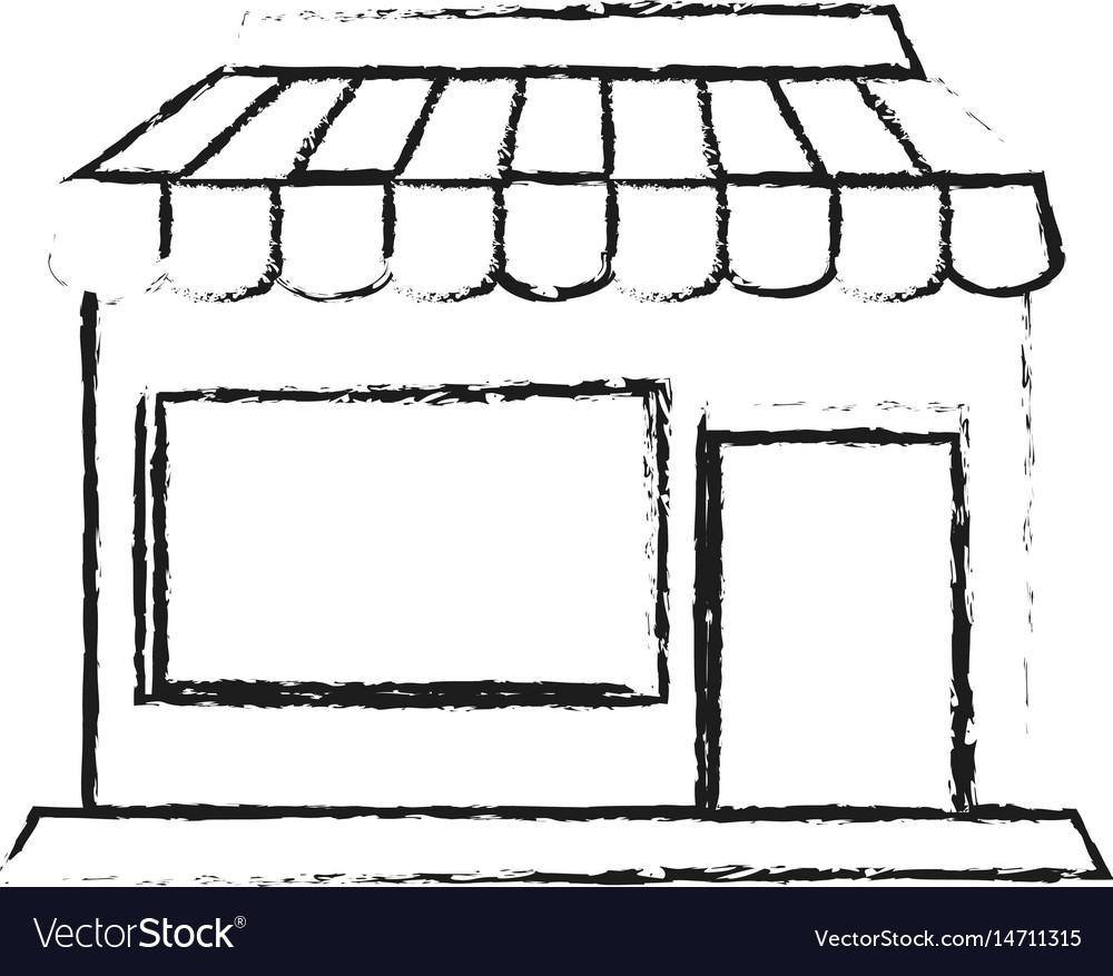 Blurred silhouette cartoon facade shop store
