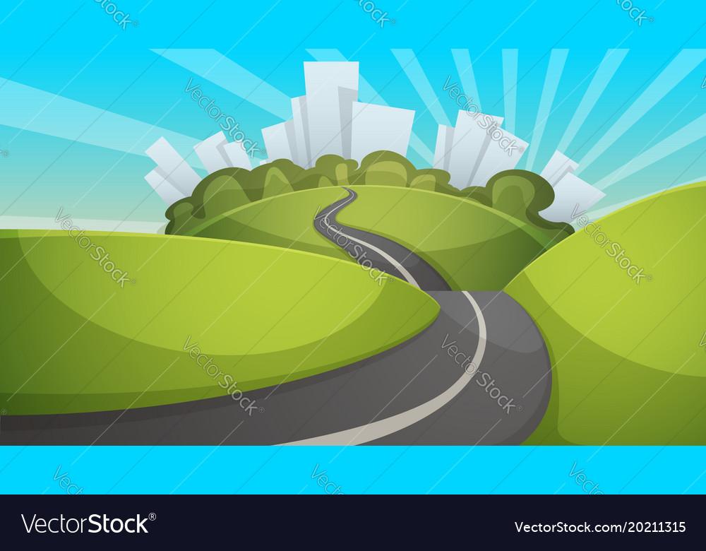 Cartoon summer landscape city hill road