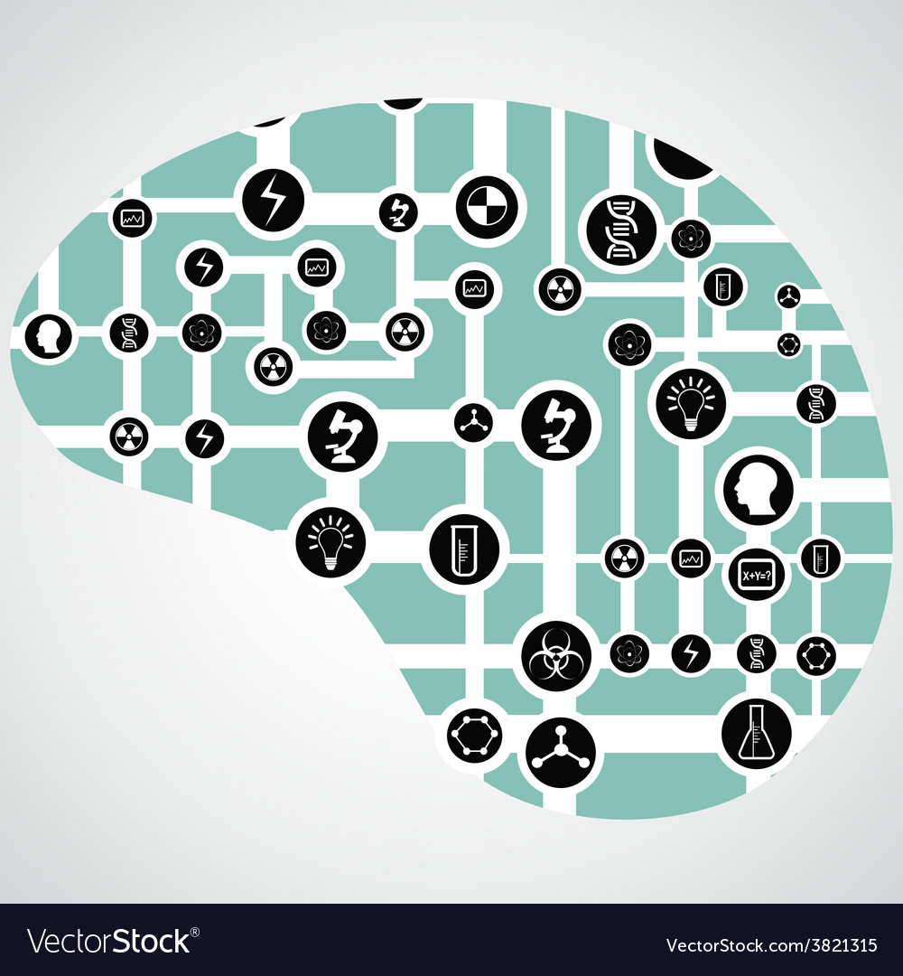 Circuit Board With App Icons In Human Brain Vector Image Circuitboardtablejpg