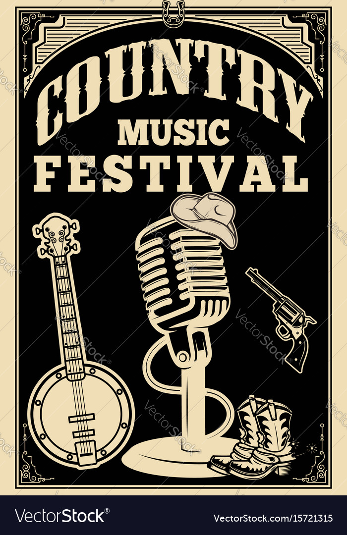 Country music festival poster old style